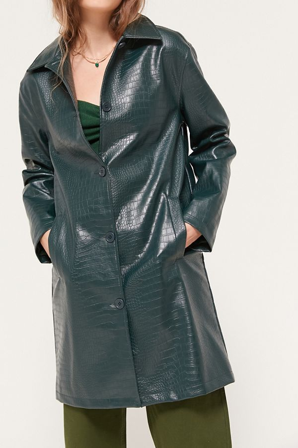 Uo Crocodile Faux Leather Mac Jacket by Urban Outfitters