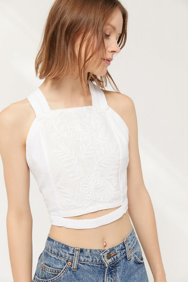 35c7a4cc UO Chloe Embroidered Tie-Back Cropped Top | Urban Outfitters