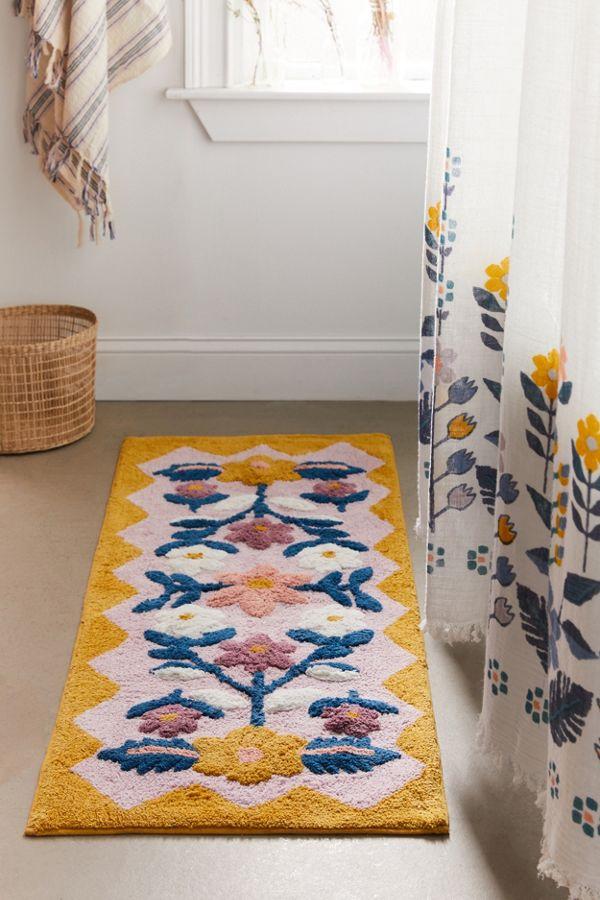 Slide View: 2: Molly Folk Floral Runner Bath Mat