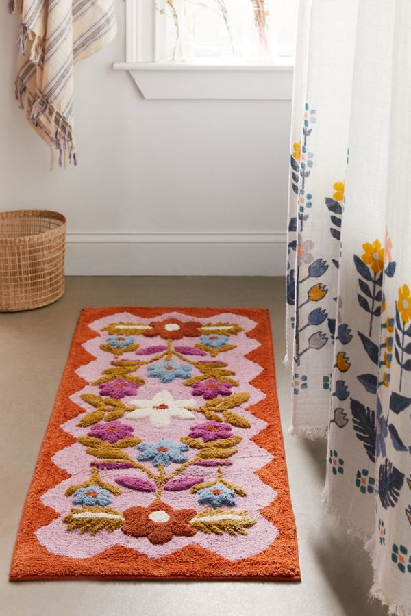 Slide View: 2: Molly Folk Floral Runner Bath Mat