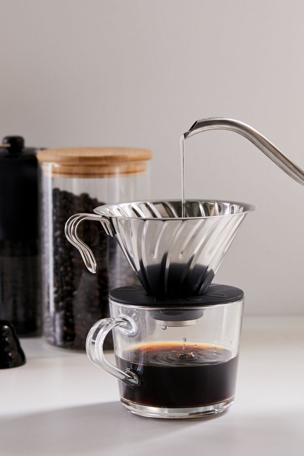 Slide View: 1: Hario V60 Metal Pour-Over Coffee Set