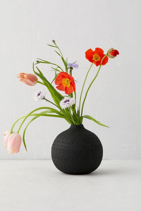 Slide View: 1: Matte Textured Round Vase