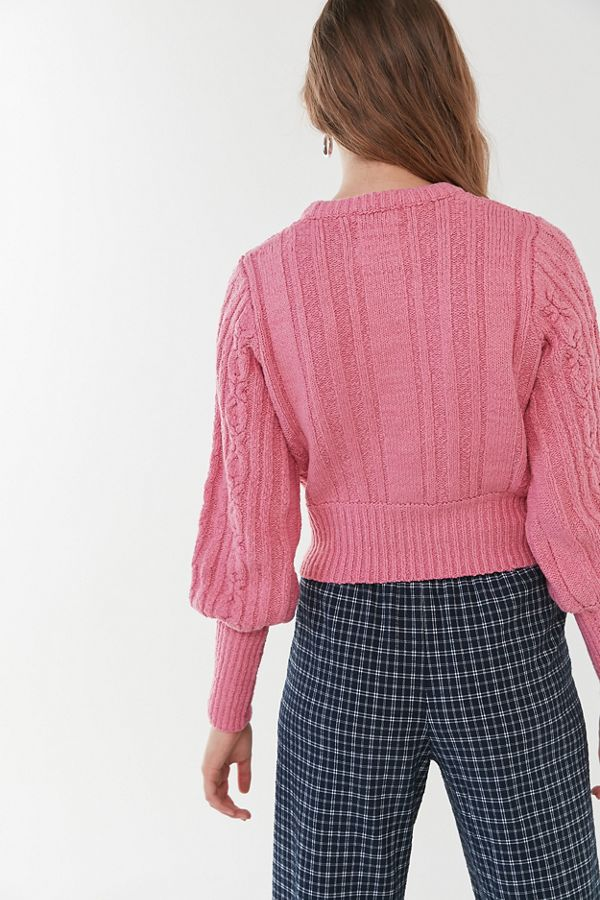 Uo Chloe Cable Knit Cropped Sweater by Urban Outfitters