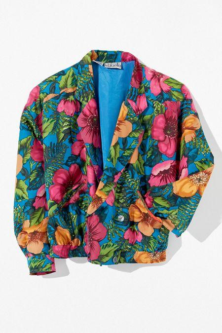 3a18c6c2b5e989 Vintage Floral Collared Jacket