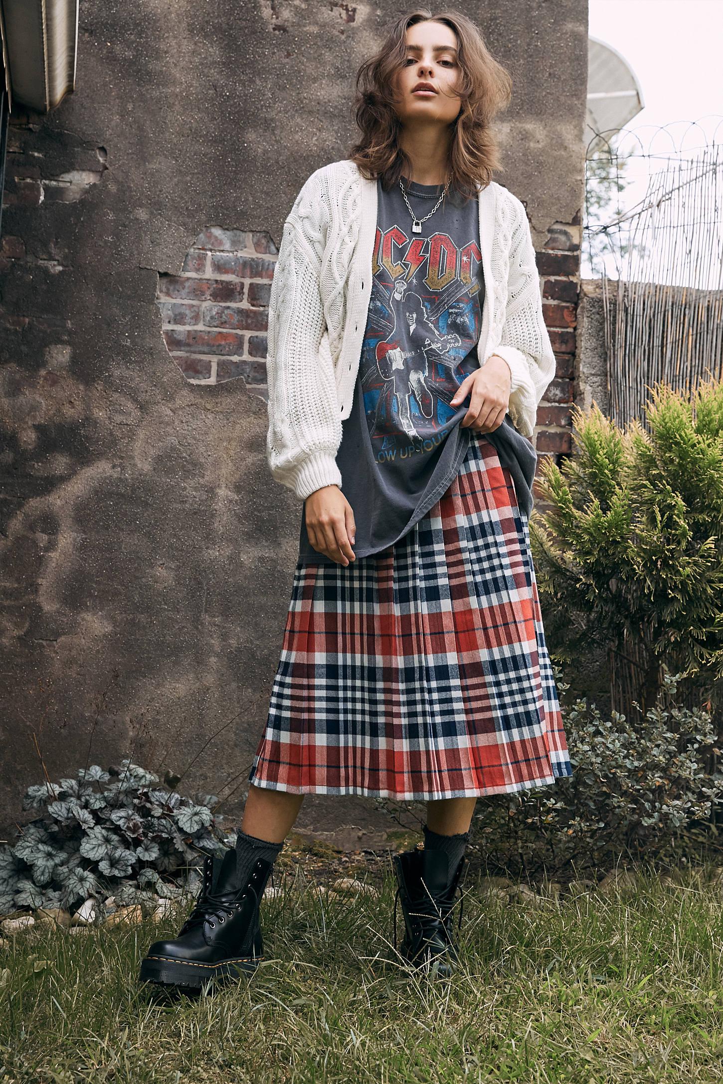 UO Briggs Plaid Pleated Midi Skirt