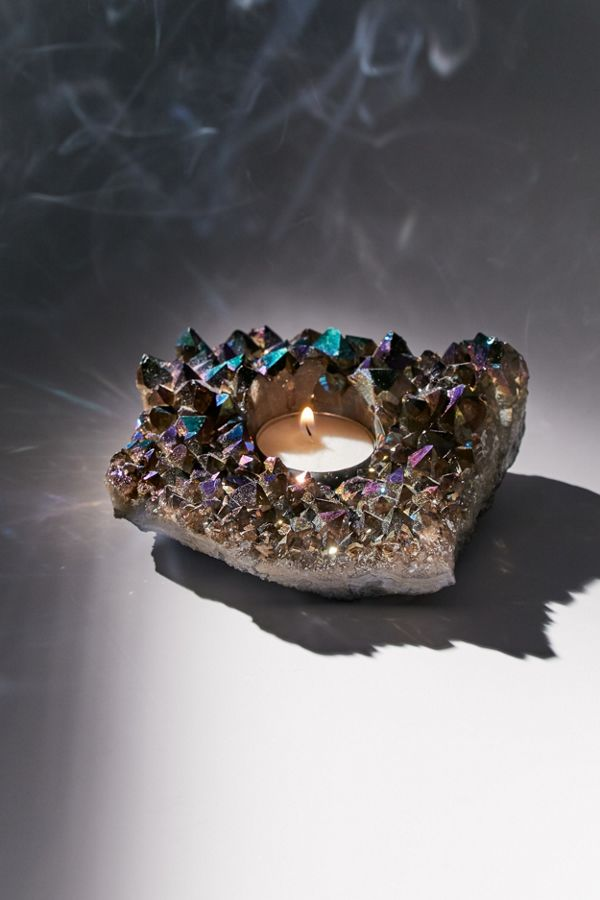 Slide View: 1: Rainbow Quartz Crystal Tea Light Candle Holder