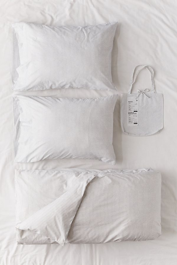 Slide View: 1: Ticking Stripe Duvet Set