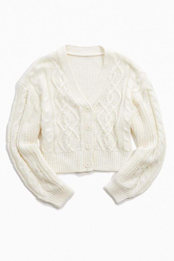 Uo Elena Cable Knit Cardigan Sweater by Urban Outfitters