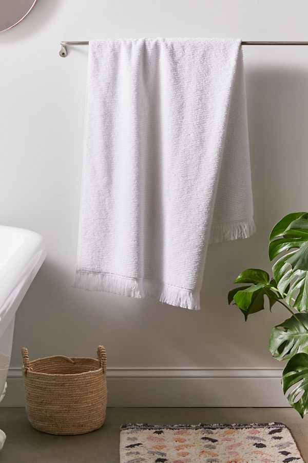 Slide View: 1: Fringe Trim Bath Towel