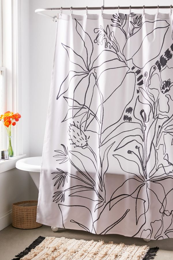 Slide View: 1: Megan Galante For Deny Charcoal Tropics Shower Curtain
