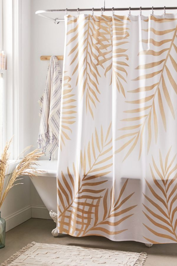 Slide View: 1: Marta Olga Klara For Deny Gold Palm Leaves Shower Curtain