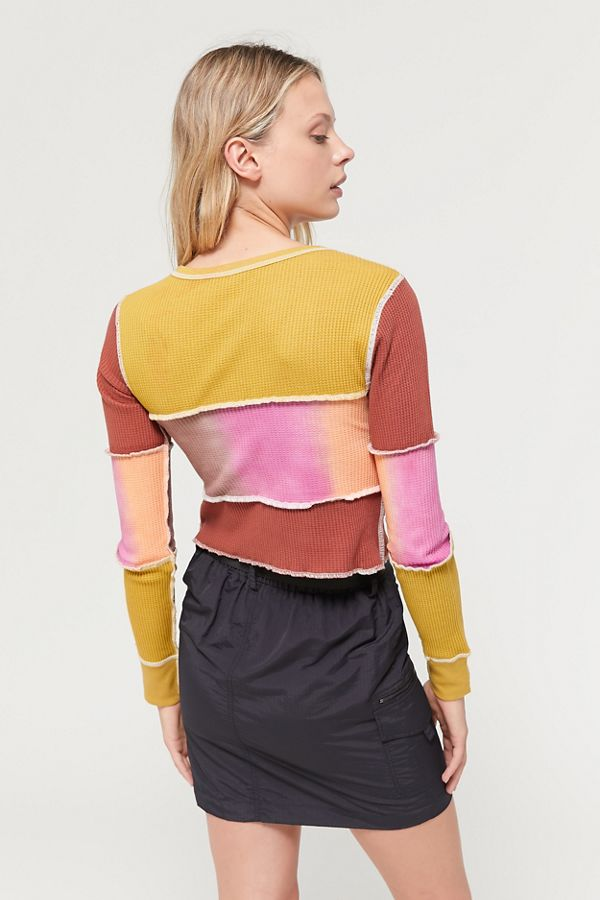 uo-dustin-tie-dye-patchwork-thermal-top by urban-outfitters