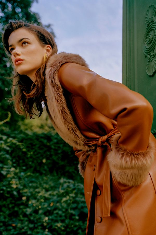 Uo Glam Faux Fur Trim Coat by Urban Outfitters
