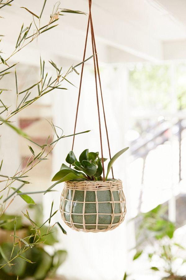 Slide View: 1: Basket-Wrapped Ceramic Hanging Planter