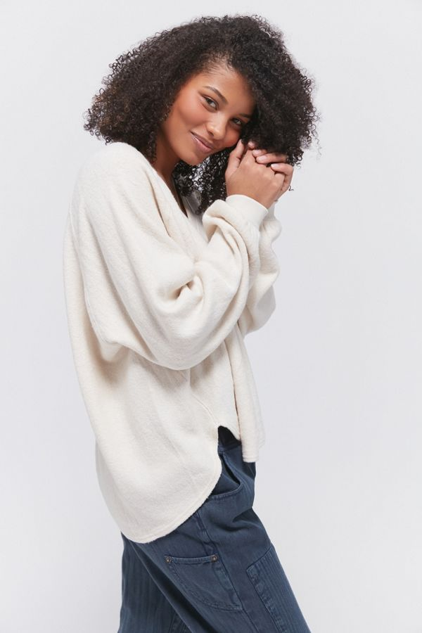 Uo Lilith Cozy V Neck Top by Urban Outfitters