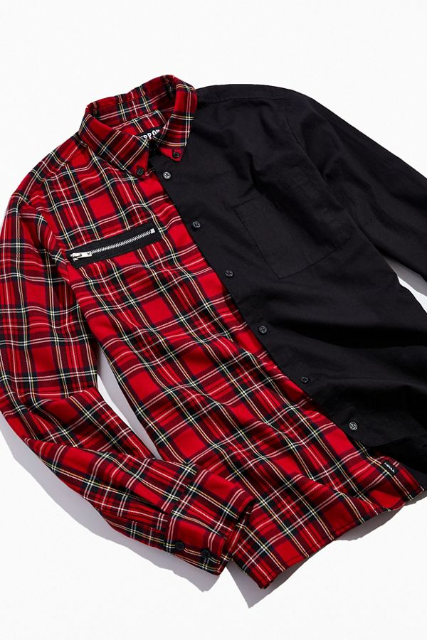 Tripp Nyc Split Button Down Shirt by Tripp Nyc