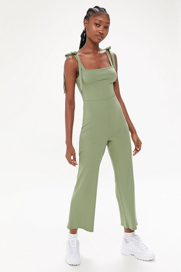 Uo Erin Ribbed Tie Shoulder Jumpsuit by Urban Outfitters