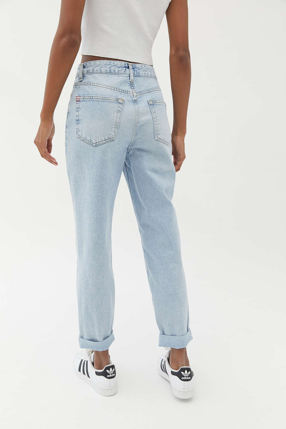 BDG High-Waisted Mom Jean – Bleached Light Wash   Urban Outfitters