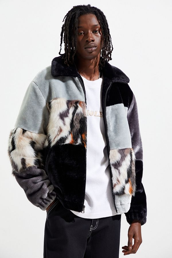 Uo Blocked Faux Fur Bomber Jacket by Urban Outfitters
