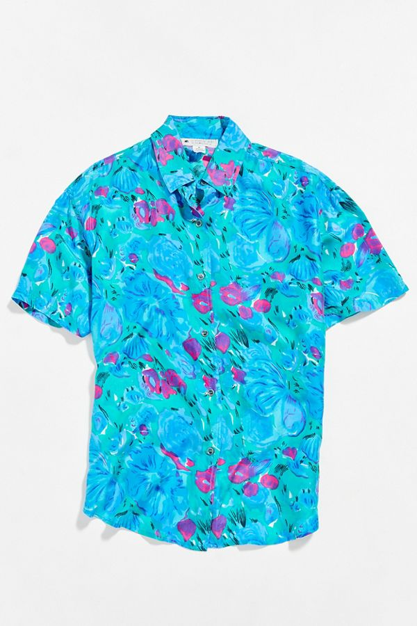 bfcabffed Slide View: 1: Vintage Blue Floral Oversized Short Sleeve Button-Down Shirt