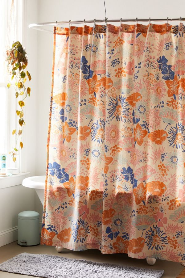 Slide View: 1: Gail Floral Shower Curtain