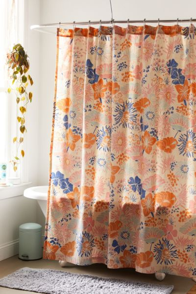 Gail Floral Shower Curtain Urban Outfitters