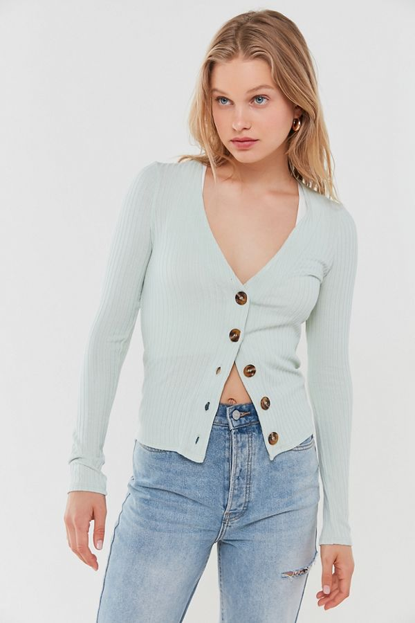 Out From Under Lightweight Ribbed Button Front Cardigan by Out From Under