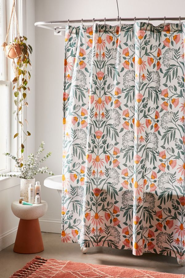 Slide View: 1: Camille Floral Shower Curtain