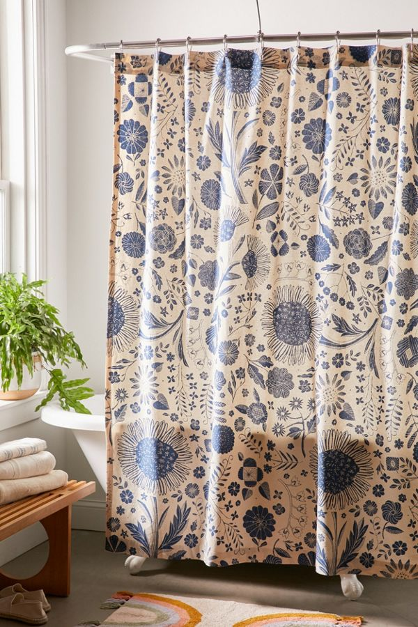 Slide View: 1: Shelby Woodblock Floral Shower Curtain