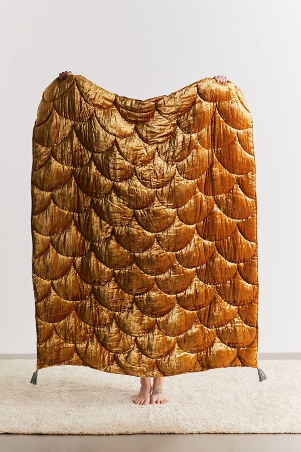 Slide View: 1: Quilted Velvet Reversible Throw Blanket