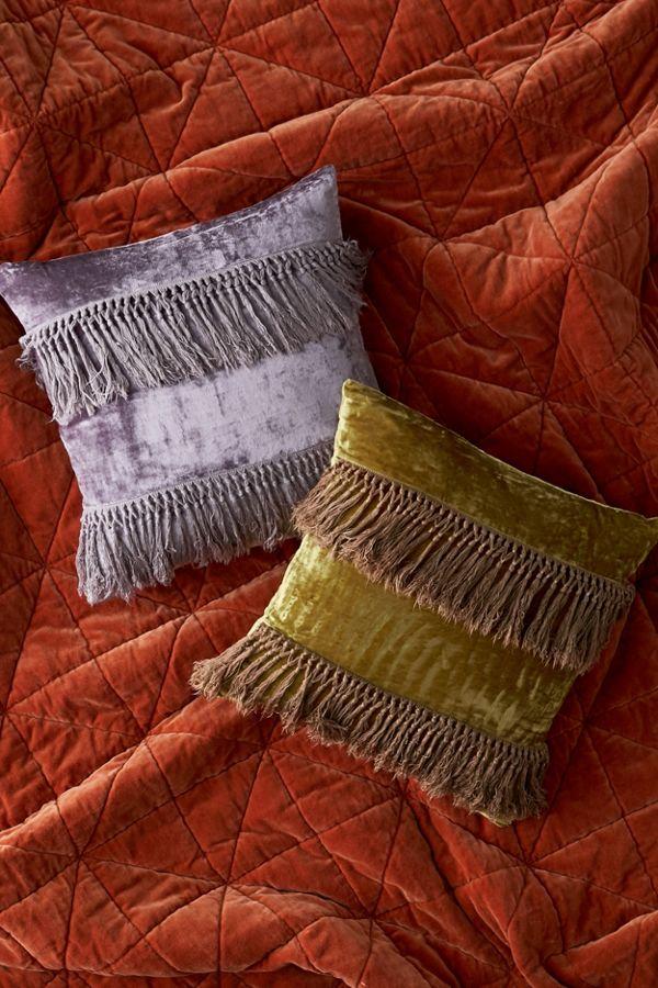 Slide View: 3: Emille Velvet Fringe Throw Pillow