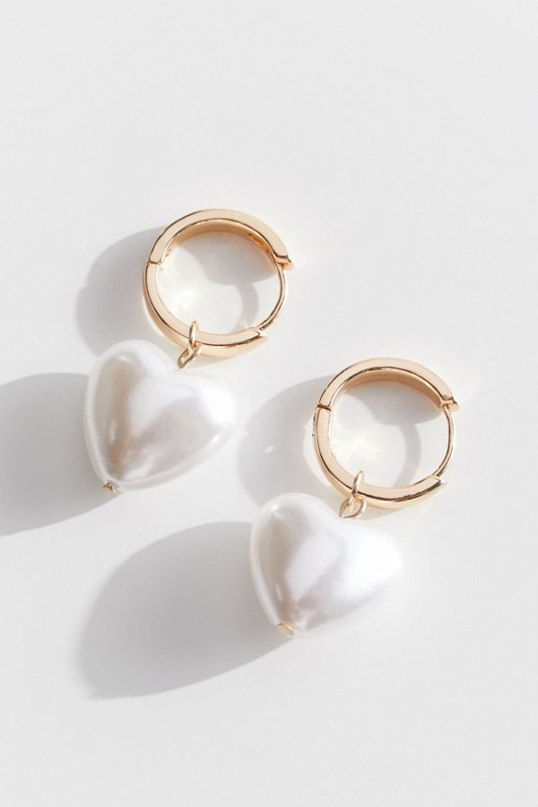Cici Pearl Heart Statement Earring Urban Outfitters