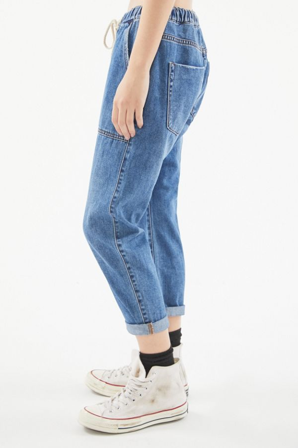 Jeans boyfriend avec cordon de serrage One Teaspoon Shabbies Indiana Blue