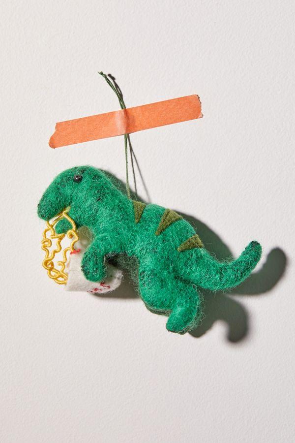 T Rex Christmas.Felt T Rex Christmas Ornament