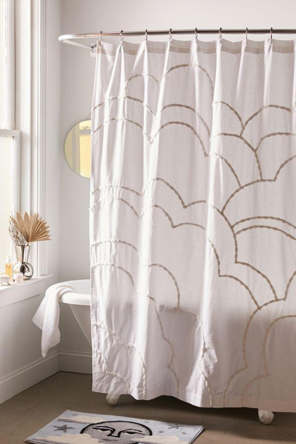Slide View: 1: Aella Tufted Cloud Shower Curtain