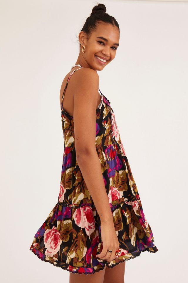 UO Hanna Rayon Scallop Babydoll Mini Dress | Urban Outfitters