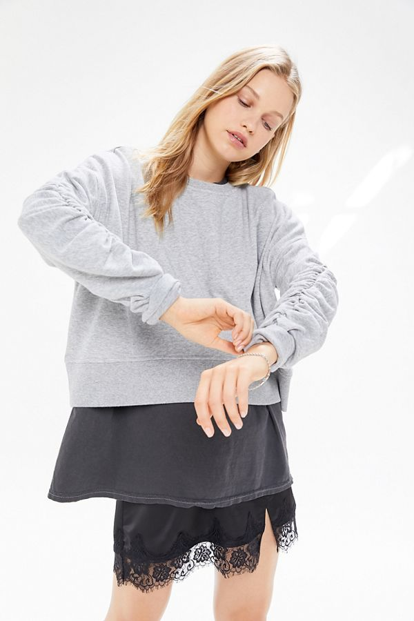 Uo Ruched Sleeve Sweatshirt by Urban Outfitters