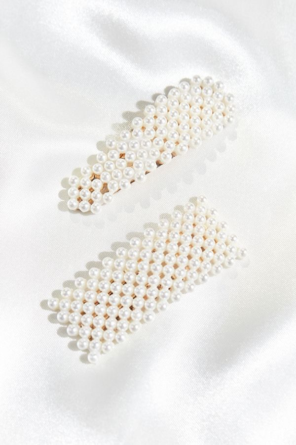 Pearl Teardrop + Square Hair Clip Duo by Urban Outfitters