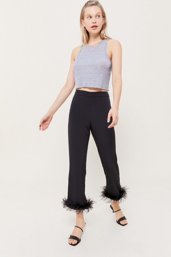 Uo Faux Feather Trim Cropped Flare Pant by Urban Outfitters