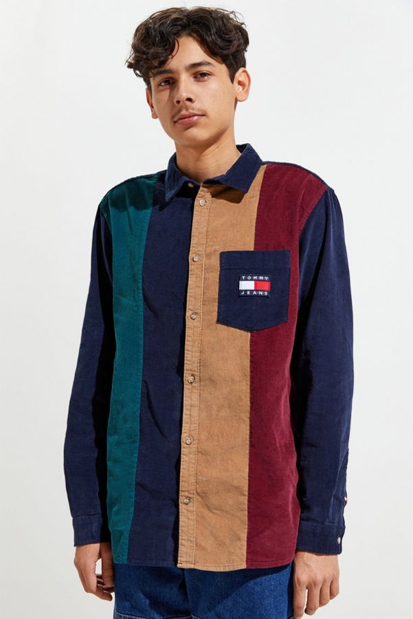Tommy Jeans Colorblock Corduroy Button Down Shirt by Tommy Jeans
