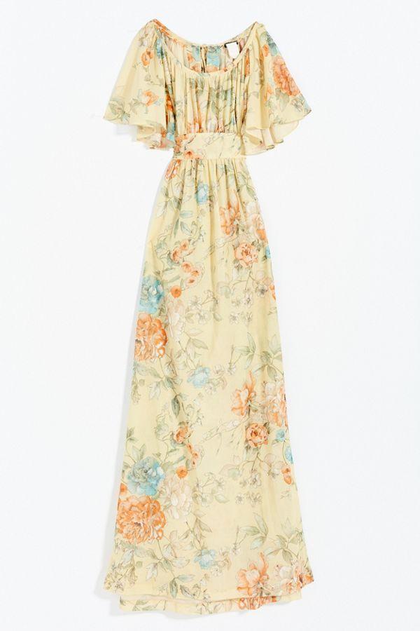 Vintage Flutter Sleeve Maxi Dress