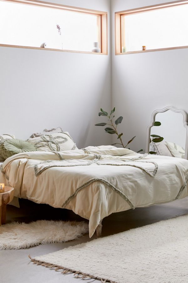 Slide View: 1: Stassia Feathered Trim Duvet Cover