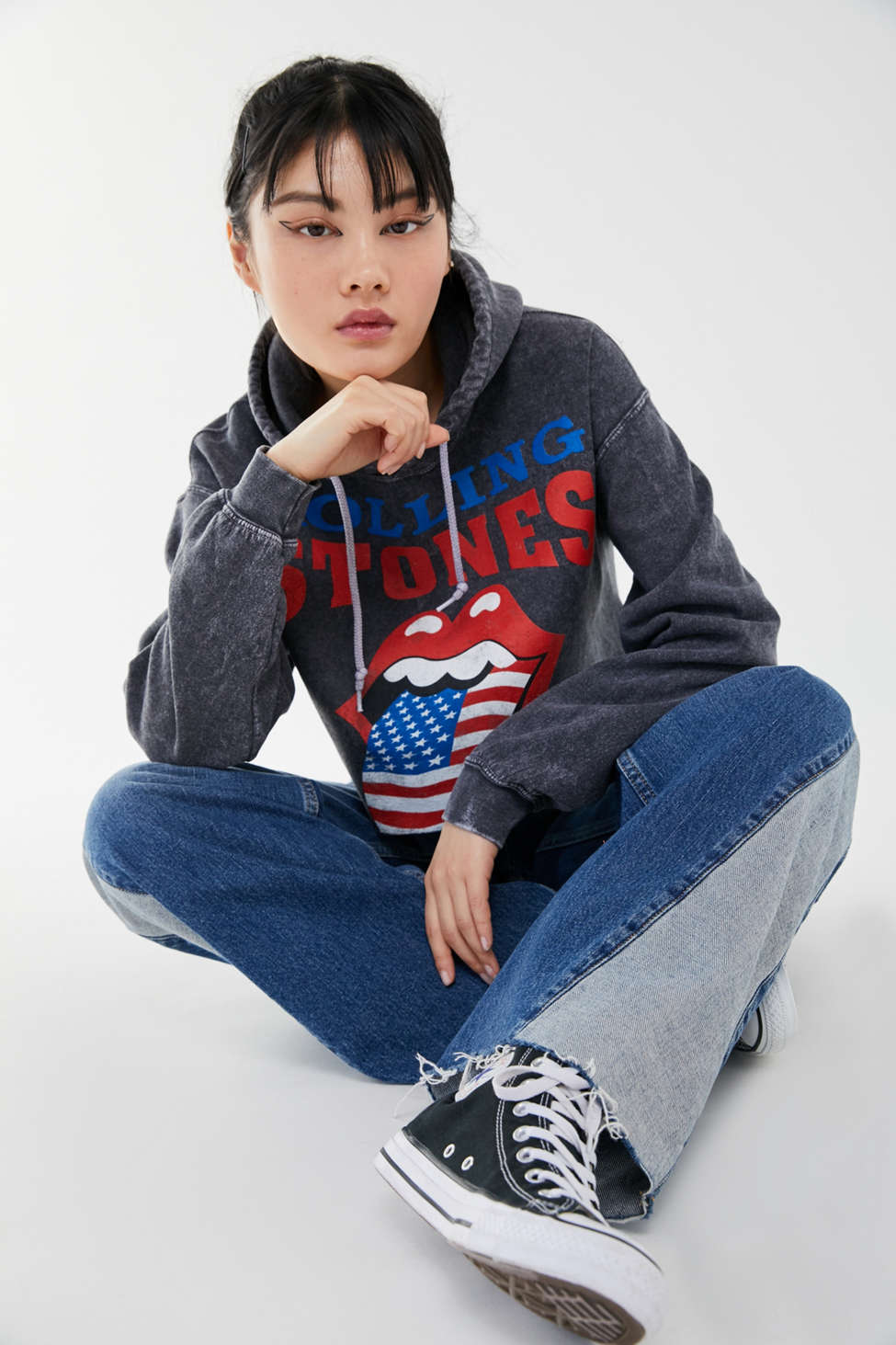 The Rolling Stones 1994 Tour Cutoff Hoodie Sweatshirt by Urban Outfitters