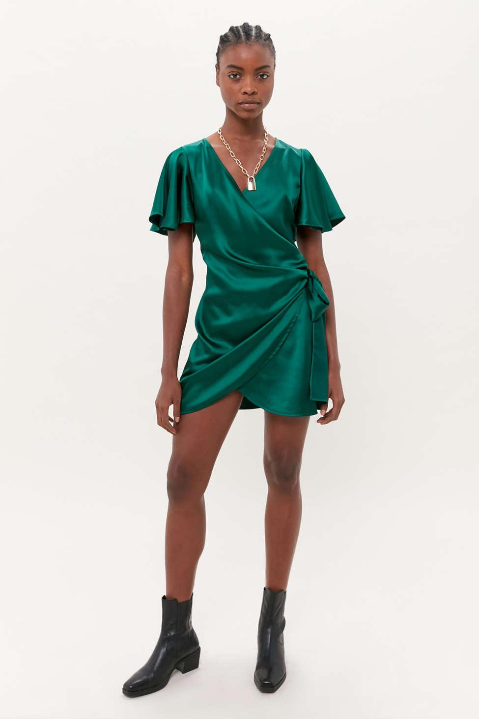 Dress Forum Satin Mini Wrap Dress   Urban Outfitters