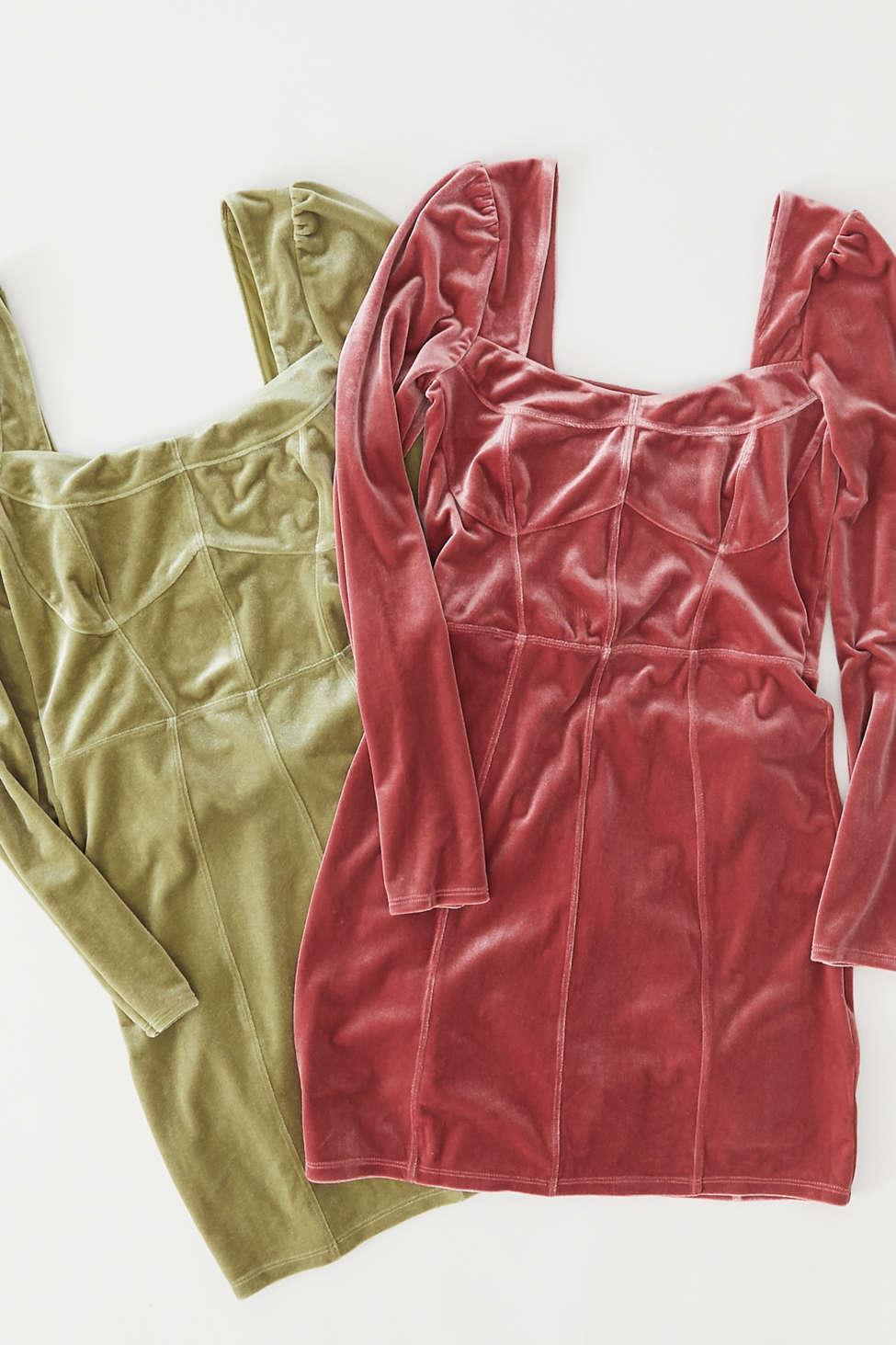 UO Velvet Long Sleeve Mini Dress | Urban Outfitters
