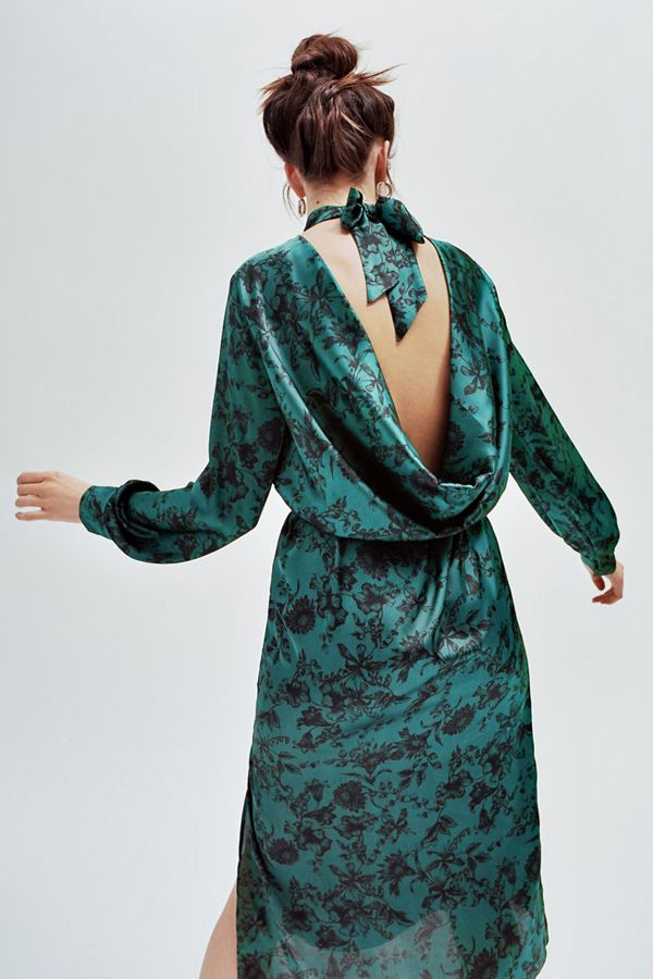 Slide View: 1: UO Savona Cowl-Back Long Sleeve Dress