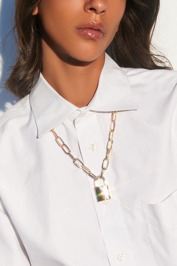 Finn Statement Lock Pendant Necklace by Urban Outfitters