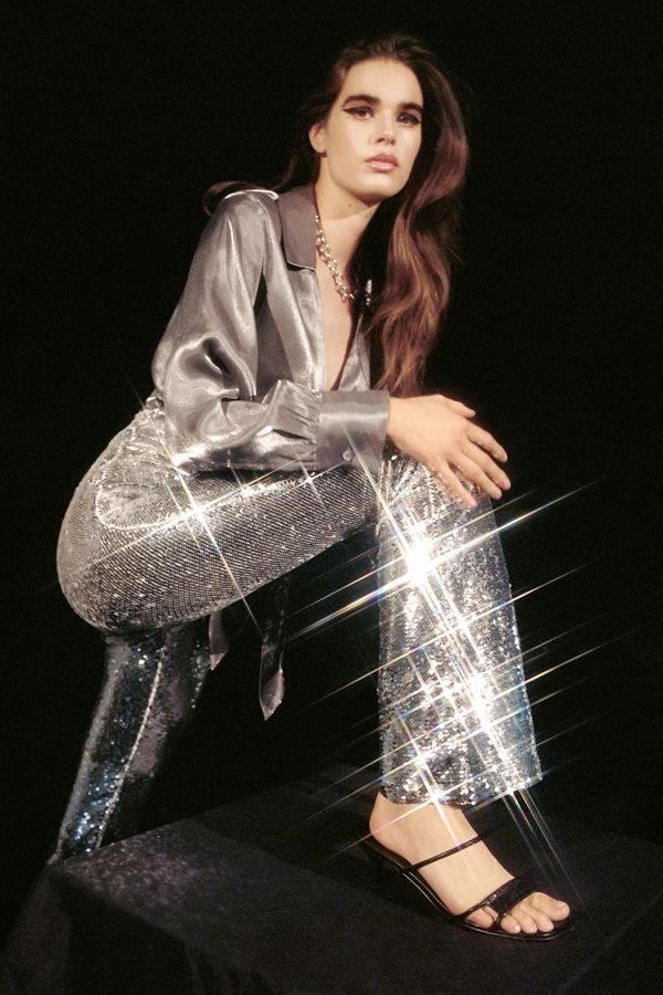Slide View: 1: UO Emma Sequin Flare Pant