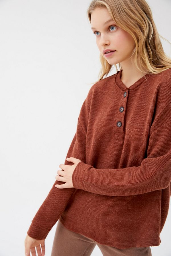 Uo Zachary Oversized Henley Top by Urban Outfitters
