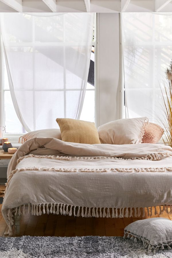 Luna Fringe Washed Slub Duvet Cover by Urban Outfitters
